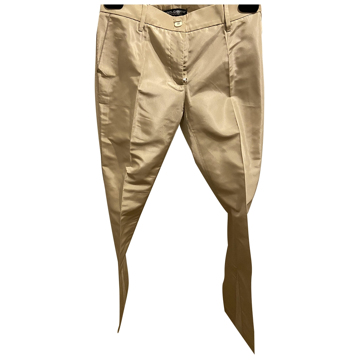 Dolce & Gabbana \N Beige Silk Trousers for Women 38 IT