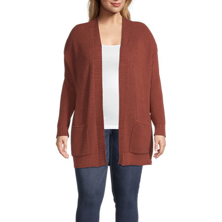 a.n.a-Plus Womens Long Sleeve Open Front Cardigan, 0x , Red