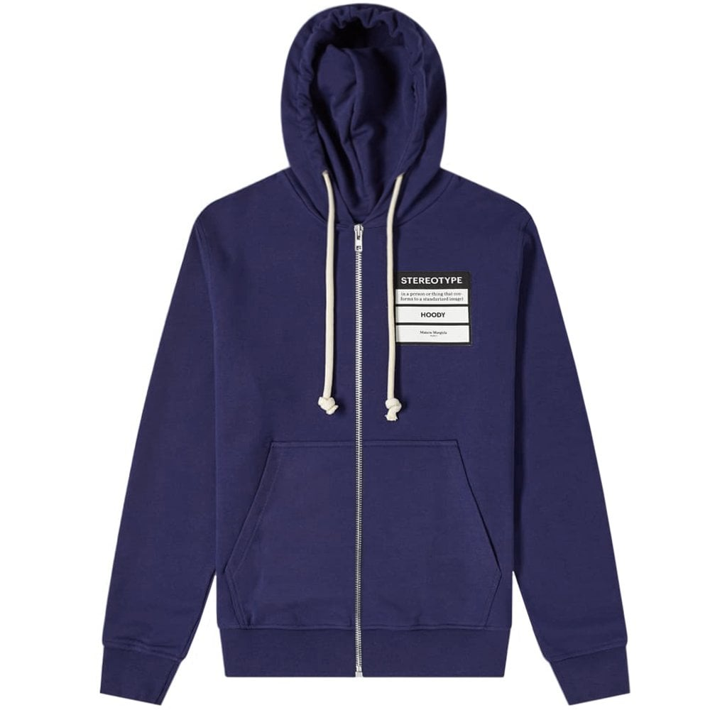 Maison Margiela 14 Stereotype Logo Hoodie Colour: BLUE, Size: MEDIUM