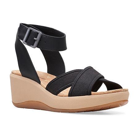 Clarks Womens Step Cali Coast Wedge Sandals, 6 1/2 Medium, Black