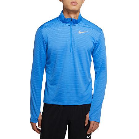 Nike Mens Mock Neck Long Sleeve Quarter-Zip Pullover, Xx-large , Blue