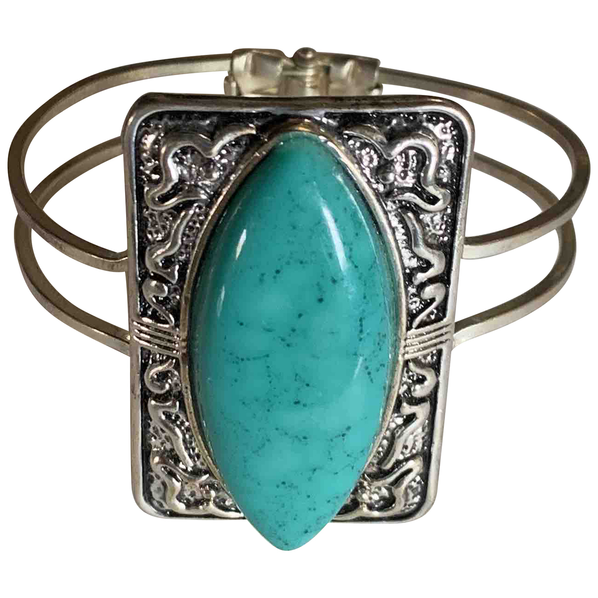 Non Signe / Unsigned Turquoises Armband in  Silber Metall