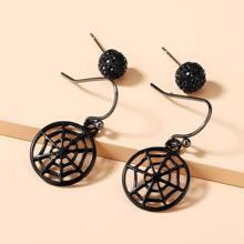 2 Paare Ohrringe Set mit Halloween Spinnennetz Dekor