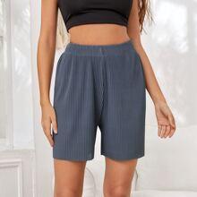 Gerippte Track Shorts mit elastischer Taille