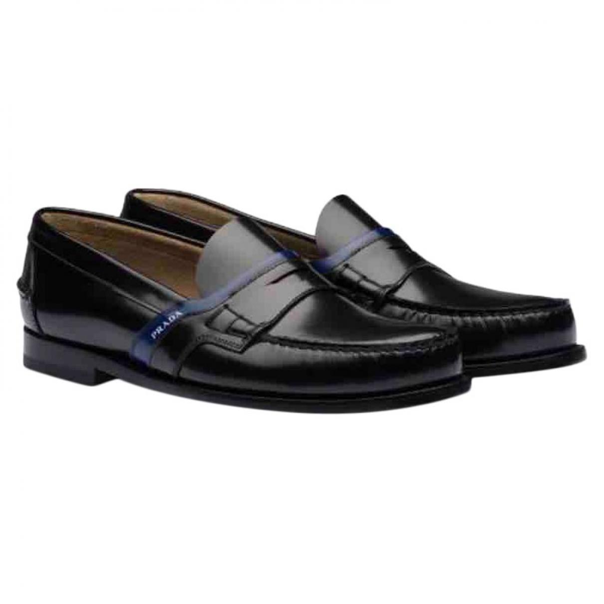 Prada \N Black Leather Flats for Men 12 UK