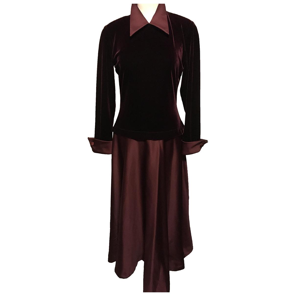 Tadashi Shoji \N Kleid in  Bordeauxrot Samt