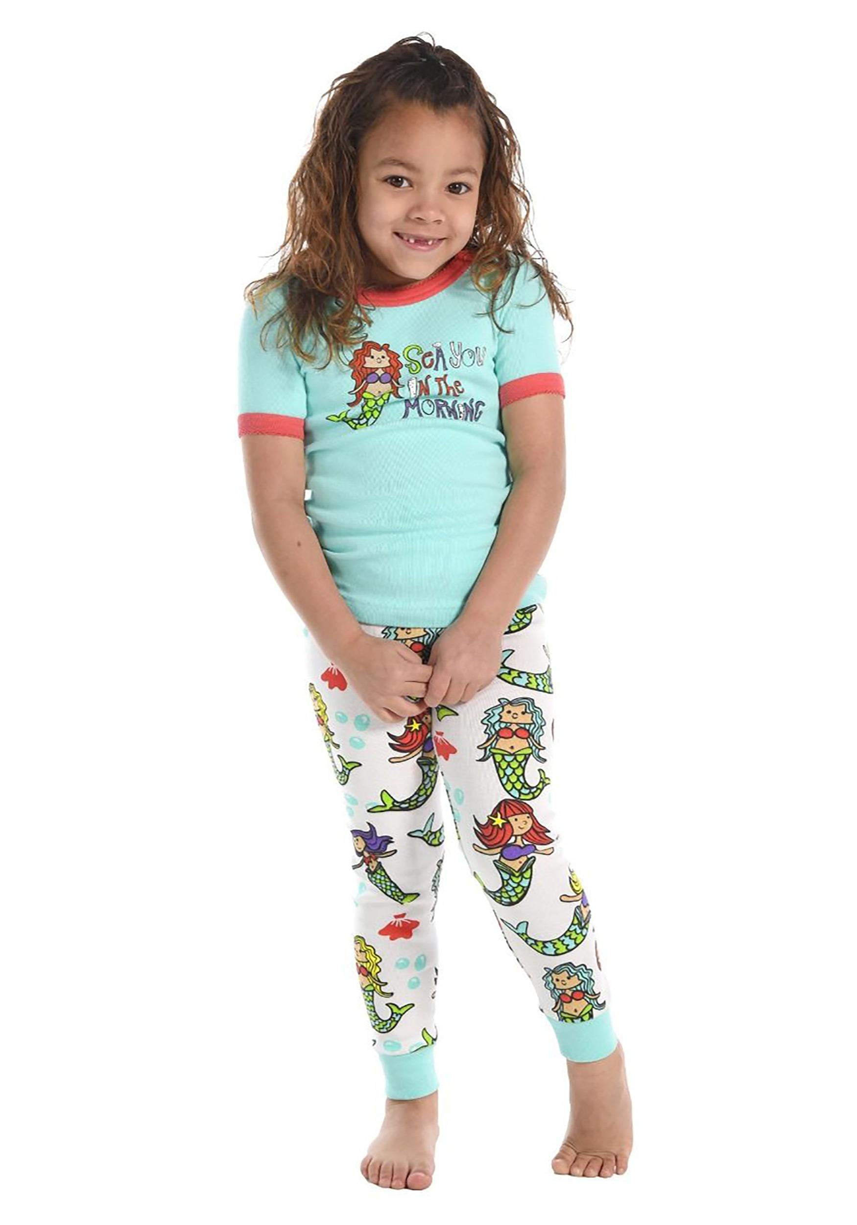 Sea You in the Morning Mermaid Short Sleeve Kids Pajamas