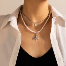 Ballet Girl Faux Pearl Layered Necklace