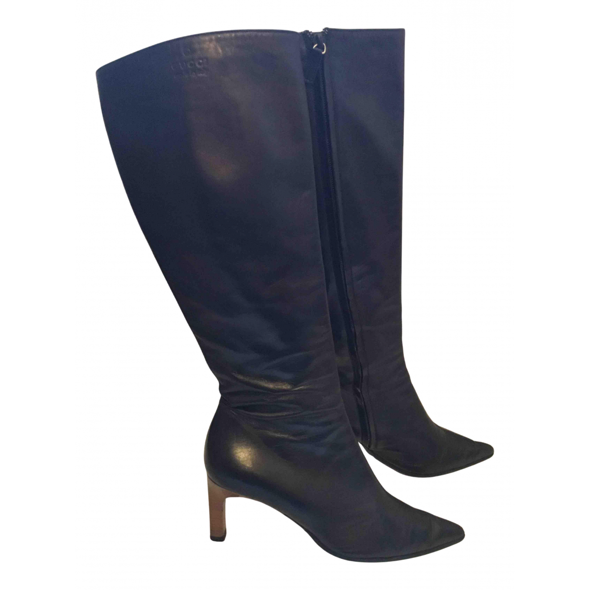 Gucci N Black Leather Boots for Women 38 EU