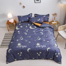 Moon & Star Print Bedding Set Without Filler