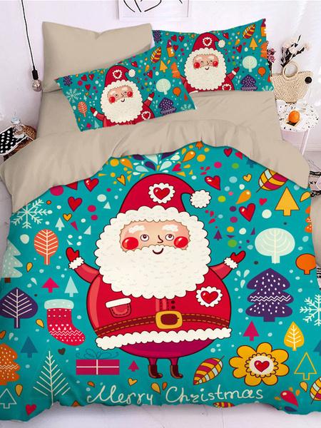 Milanoo Christmas Bedding Set 3-Piece Polyester Fiber Green Bed Sheet Duvet Cover Pillowcase Beddingroom Supplies