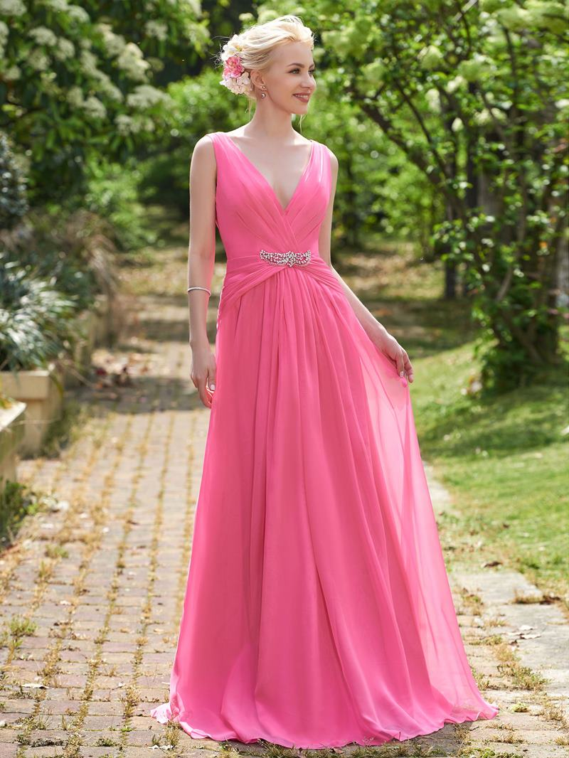 Ericdress V Neck Beading Long Bridesmaid Dress