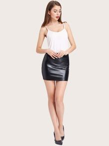 Kate Kasin Metallic Mini Bodycon Skirt