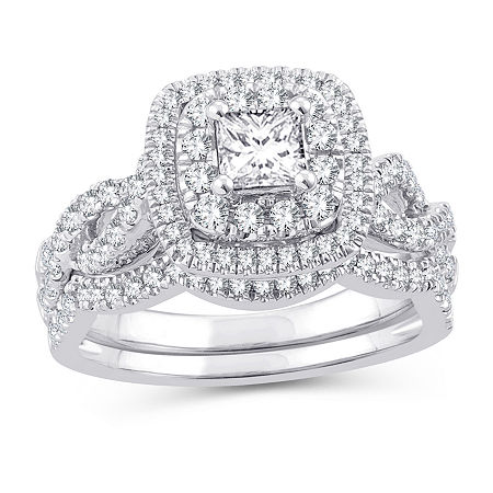 Womens 1 1/8 CT. T.W. Genuine White Diamond 10K White Gold Engagement Ring, 7 , No Color Family