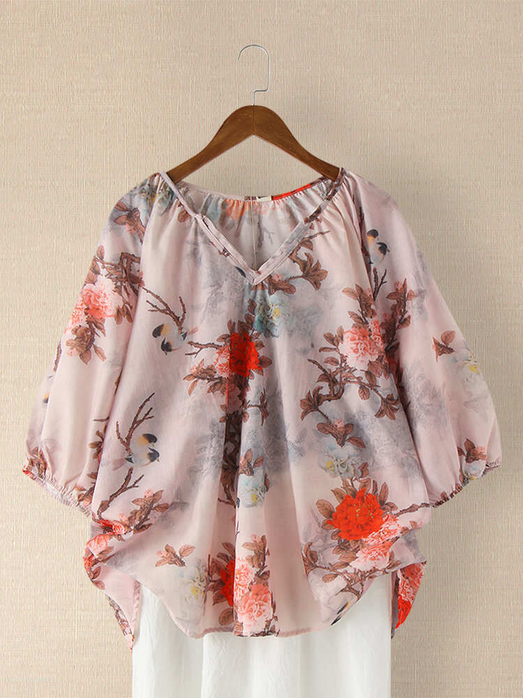 Vintage Flower Printed Notched Neck Casual Blouse For Women