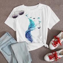 T-Shirt mit Feder & Mowe Muster