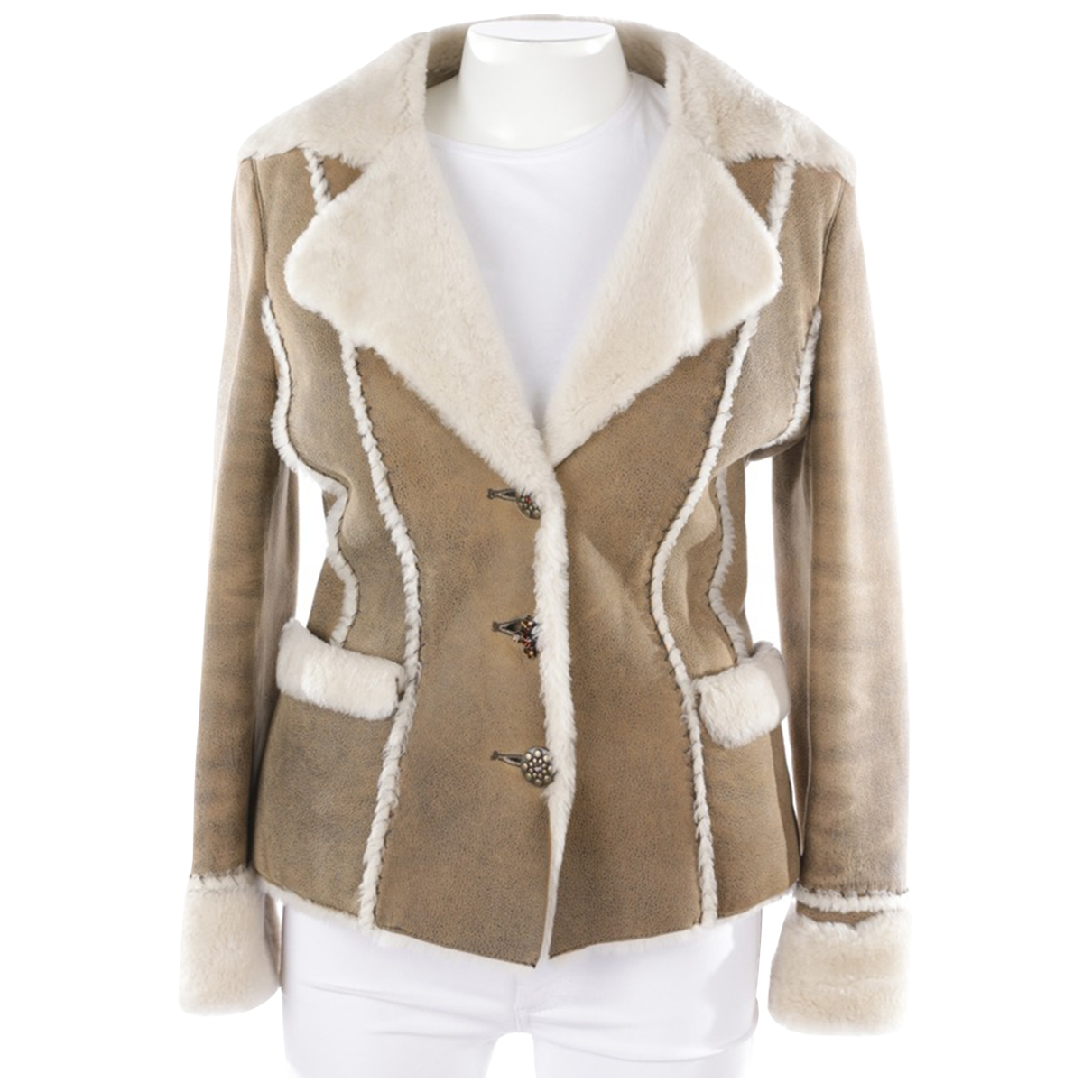 Laurel - Veste   pour femme en cuir - beige