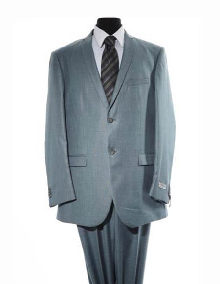 Men's Two Button Blue Single Breasted Suit