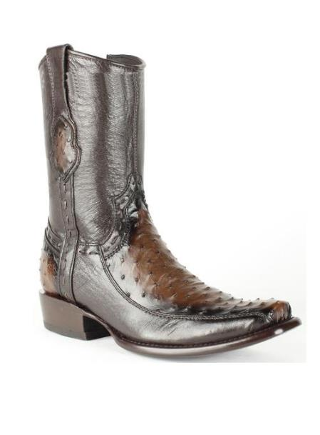 Men's Brown King Exotic Ostrich Skin Dubai Handcrafted Leather Boot