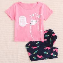 Kleinkind Maedchen Schlafanzug Set mit Lama und Buchstaben Grafik