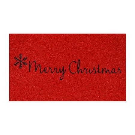Red Merry Christmas Rectangular Outdoor Doormat, One Size , Black