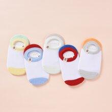 5pairs Toddler Boys Color Block Socks