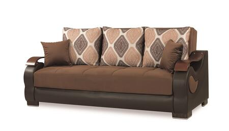 Metroplex Collection METROPLEX SOFABED BROWN 87 Sofa Bed with Curved Wood Arms  Fabric Upholstery and Under Seat Storage in