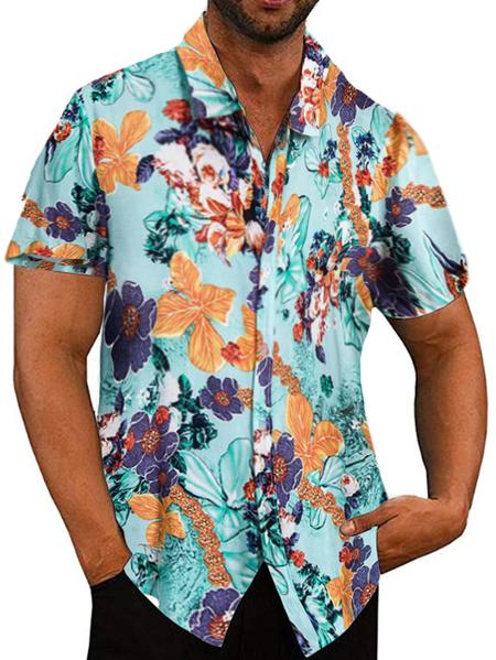 Yoins Men Summer Casual Holiday Floral Tropical Shirt