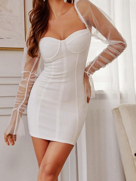Milanoo Vestido de club para mujer sin tirantes sexy de manga larga de tul vestido sexy blanco