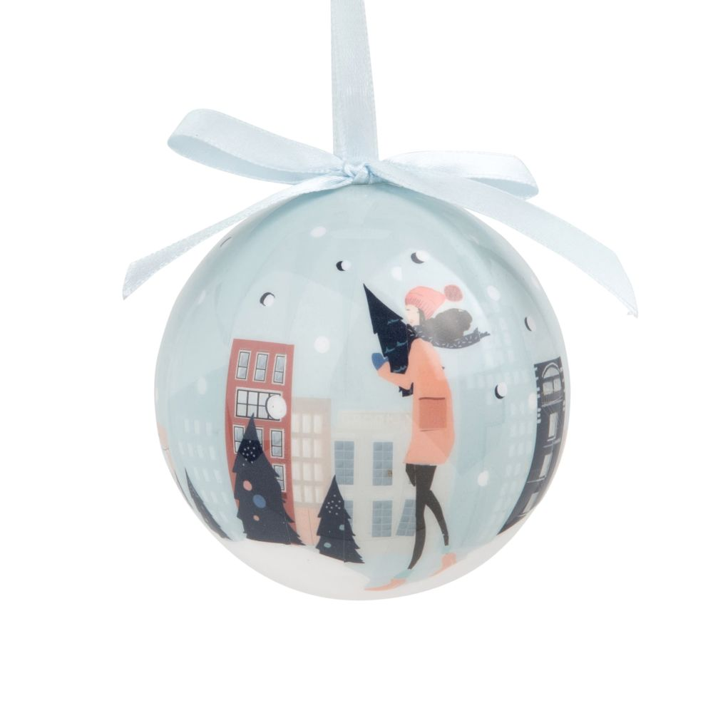 Weihnachtskugel aus Papier, bedruckt mit verschneitem Stadtmotiv
