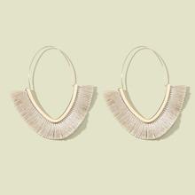 Tassel Decor Open Triangle Shaped Hoop Earrings