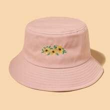 Sombrero cubo con bordado de flor