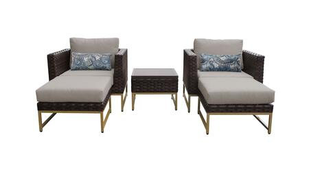 Barcelona BARCELONA-05b-GLD-BEIGE 5-Piece  Patio Set 05b with 2 Club Chairs  1 End Table and 2 Ottomans - 2 Beige Covers with Gold
