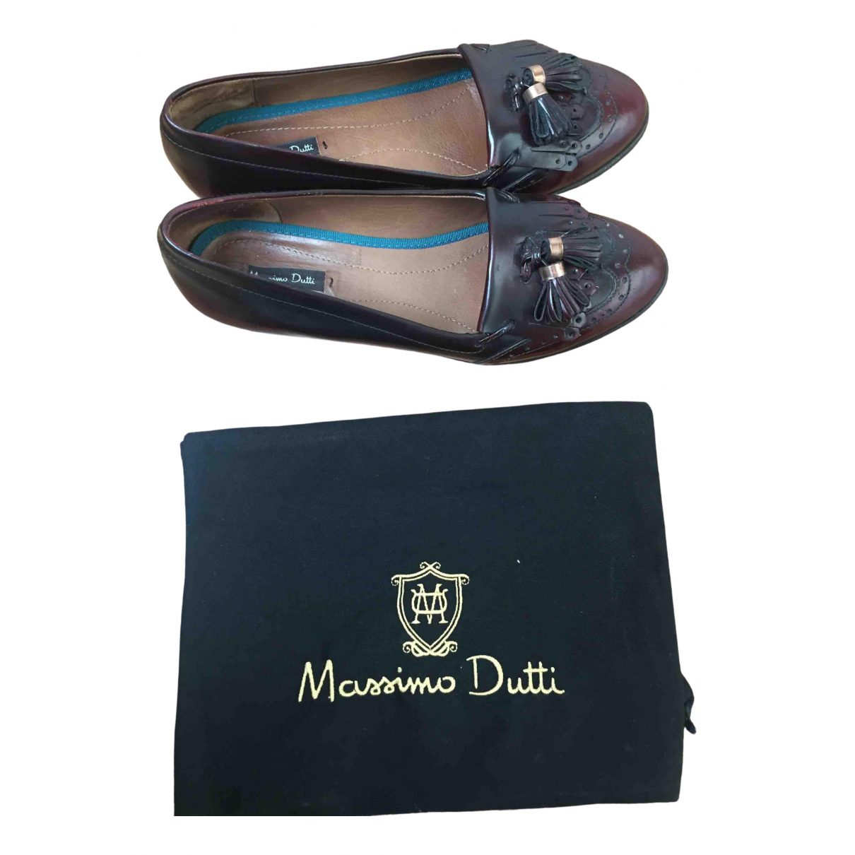Massimo Dutti \N Burgundy Leather Flats for Women 38 EU