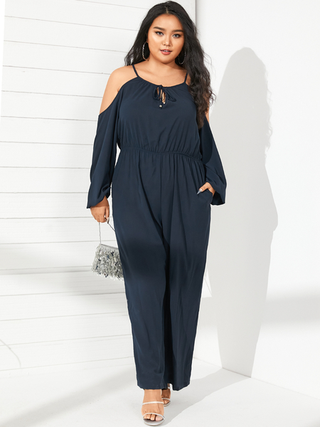 YOINS Plus Size Cold Shoulder Spaghetti Strap Long Sleeves Jumpsuit