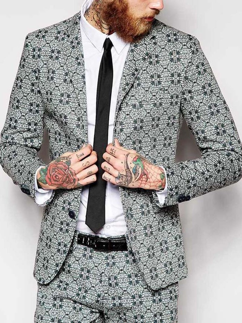 Ericdress Notched Lapel Geometric Casual Mens Leisure Blazers