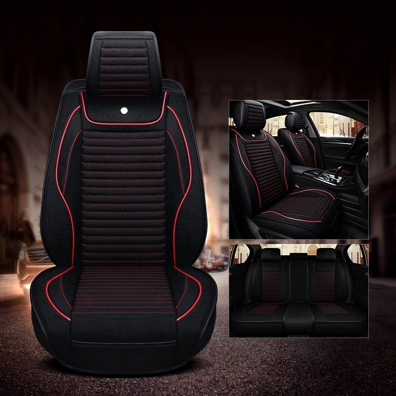 Breathable Linen Series Easy Installation Can Be Washed No Smell More Toughness Universal Fit Car Seat Covers