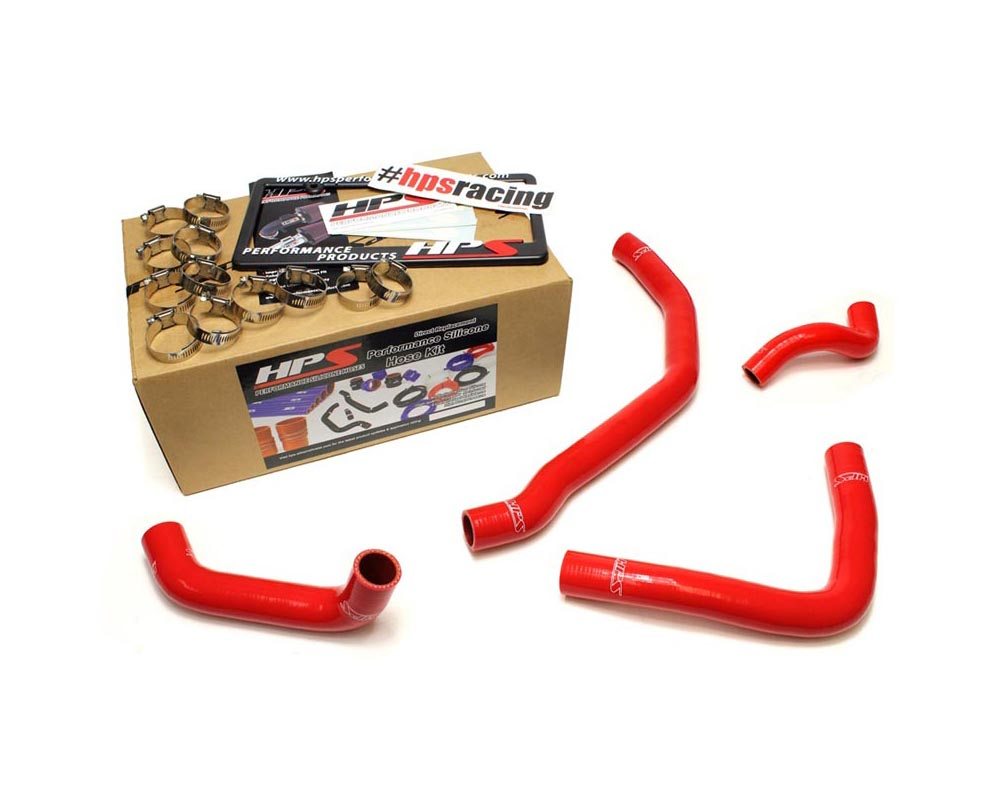 HPS Red Reinforced Silicone Radiator Coolant Hose Kit (4pc set) for rear engine for Toyota 90-99 MR2 3SGTE Turbo