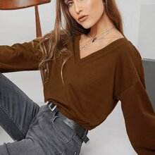 V-neck Drop Shoulder Solid Pullover