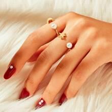 Star & Moon Design Cuff Ring 2pcs