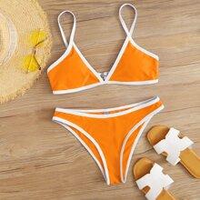 Contrast Binding Bikini Swimsuit