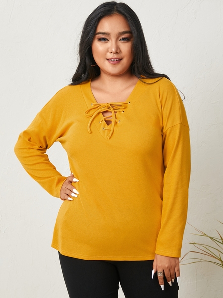 YOINS Plus Size V-neck Lace-up Design Long Sleeves Tee