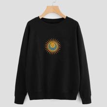 Sweatshirt mit Sonne & Mond Muster