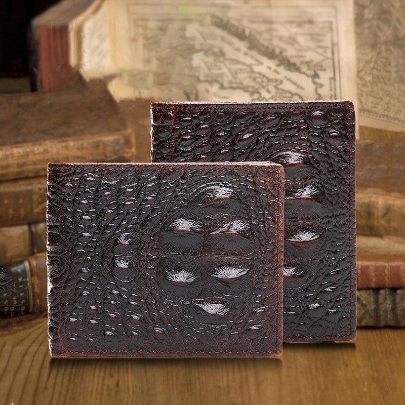 Men Genuine Leather Alligator Business Money Clip Card Case Wallet