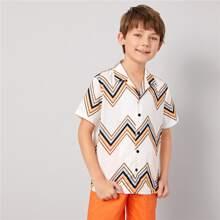 Jungen Hemd mit eingekerbtem Kragen und Chevron Muster