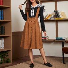 Wide Waistband Button Front Pinafore Skirt