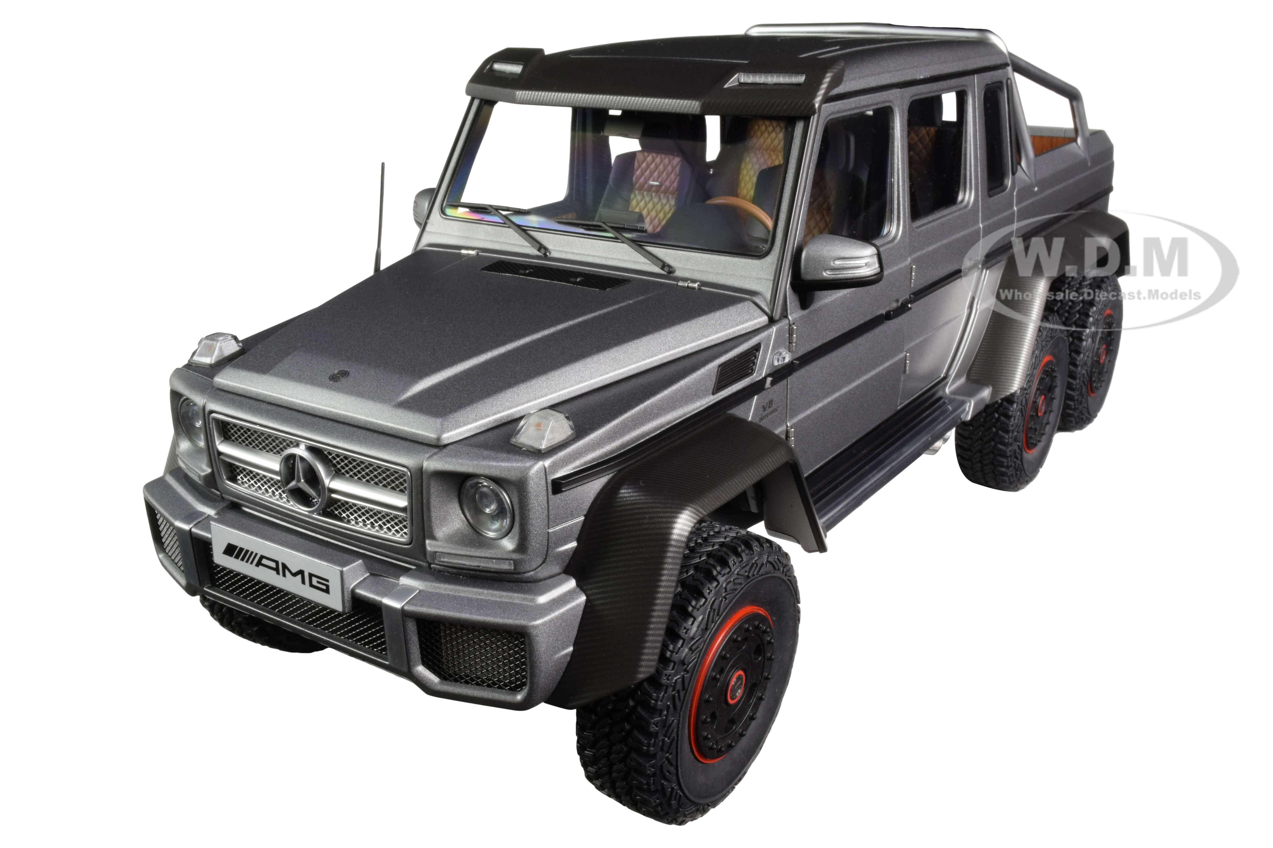 Mercedes Benz G63 AMG 6x6 Designo Platinum Magno Gray Metallic with Carbon Accents 1/18 Model Car by Autoart