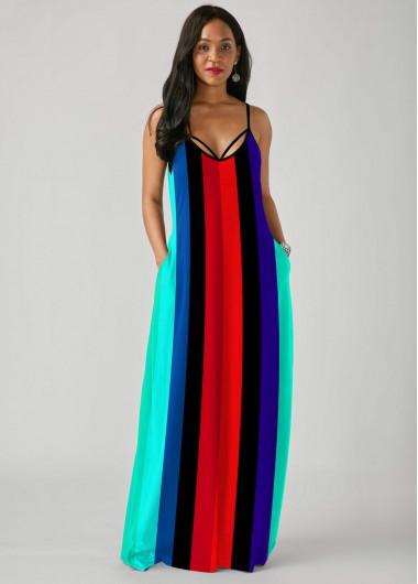 Cocktail Party Dress Multi Color Rainbow Stripe Print Spaghetti Strap Dress - M