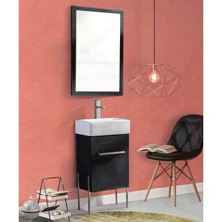 Fine Fixtures - Modern Bathroom Vanity Set,, vitreous China Sink Top (Black Marble - Chrome Hardware - 18 Inch)