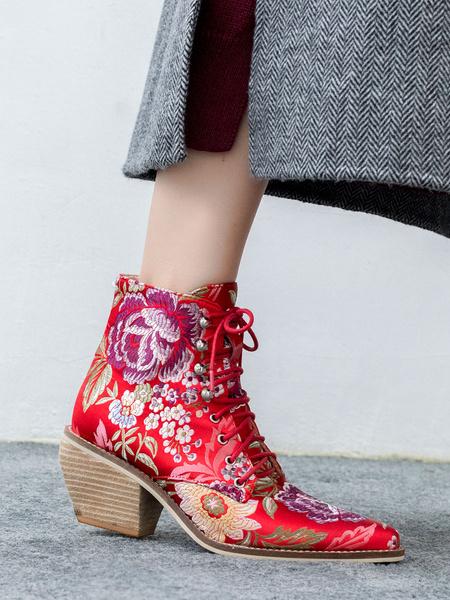 Milanoo Botines de mujer Ture rojo satinado puntiagudo bordado obra de arte Puppy Heel